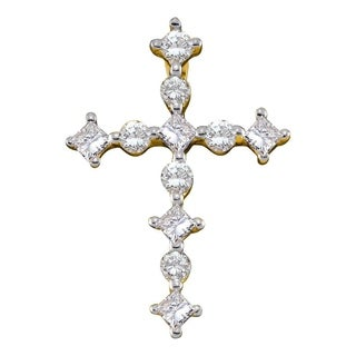 14kt Yellow Gold Womens Princess Round Diamond Cross Religious Pendant 3/8 Cttw