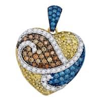 10kt White Gold Womens Cognac-brown Blue Yellow Color Enhanced Diamond Heart Pendant 1-1/12 Cttw