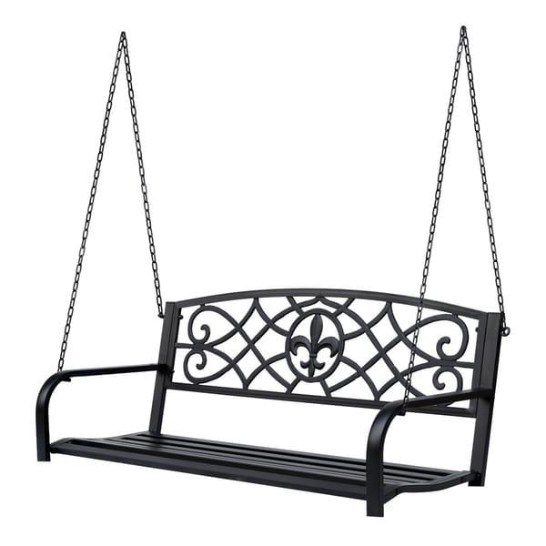 Shop Outsunny Metal Porch Swing Chair Outdoor Seat Bench Fleur De
