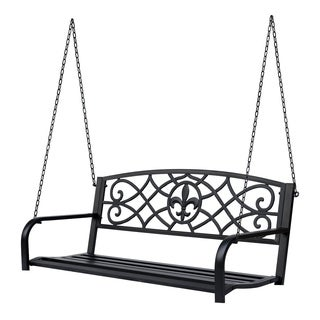 Outsunny Metal Porch Swing Chair Outdoor Seat Bench Fleur-De-Lis Design Yard Deck With Chain
