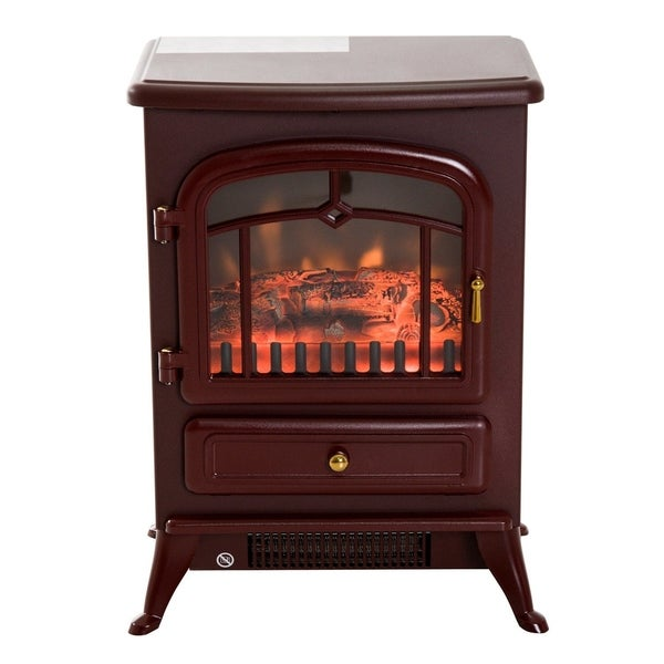 """HomCom 16"""" 1500W Free Standing Electric Fireplace Wood Burning Portable Stove Heater - Red - N/A"""
