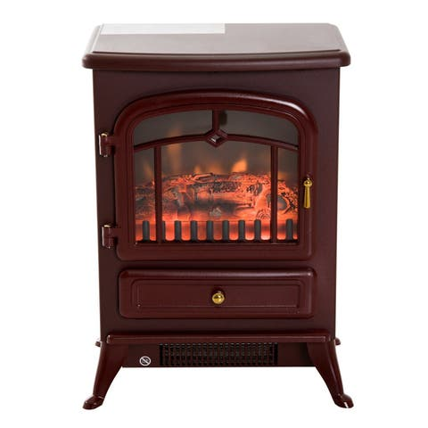 HomCom 16 in 1500W Free Standing Electric Fireplace Wood Burning Portable Stove Heater - Red