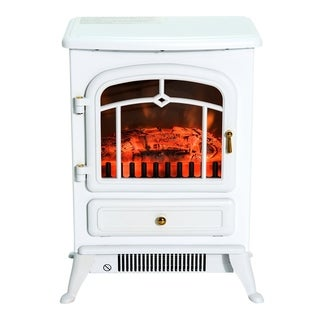 """HomCom 16"""" 1500W Free Standing Electric Wood Stove Fireplace Heater (White)"""