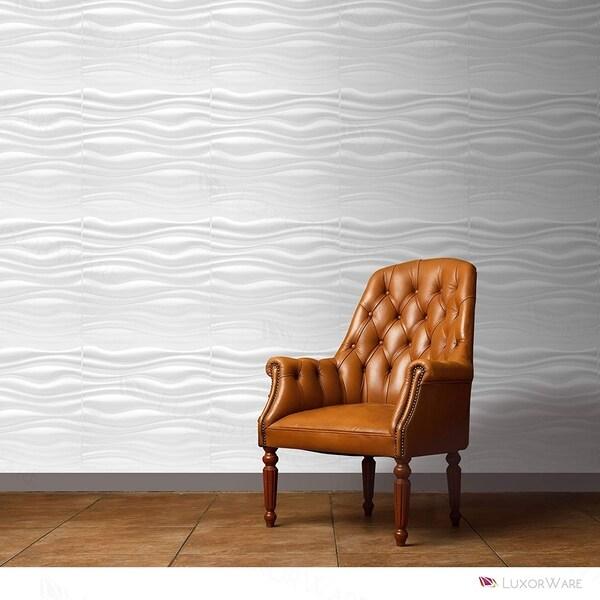 LuxorWare White PVC Fiber 3D Wall Panels (12 Panels Per Box)