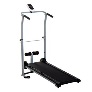 Soozier Folding 2-in-1 Manual Walking Incline Treadmill and Sit Up Exercise Machine
