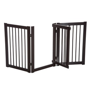 "PawHut 31"" x 61"" Wooden Freestanding 3 Panel Safety Expandable Pet Gate With Door"