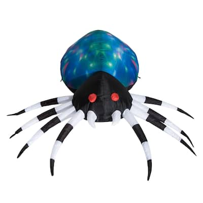 HomCom 5' Outdoor Airblown Inflatable Halloween Decoration - Giant Spooky Spider