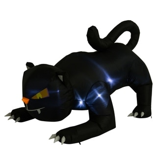 HomCom 6' Giant Creeping Black Cat Halloween LED Lighted Outdoor Airblown Inflatable Yard Decoration
