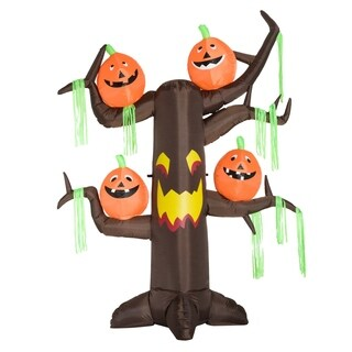 HomCom 8' Outdoor Airblown Inflatable Halloween Decoration - Haunted Tree with Jack-O-Lantern Pumpkins