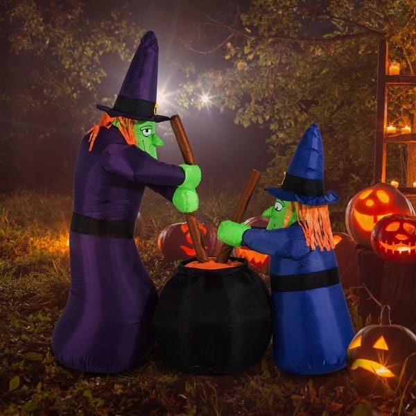 Shop Homcom 5 5 Outdoor Airblown Inflatable Halloween Decoration Brewing Witches With Cauldron Overstock 22468559