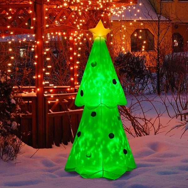 HomCom 6 ft Outdoor Lighted Airblown Inflatable Christmas Lawn Decoration - Christmas Tree with Star and