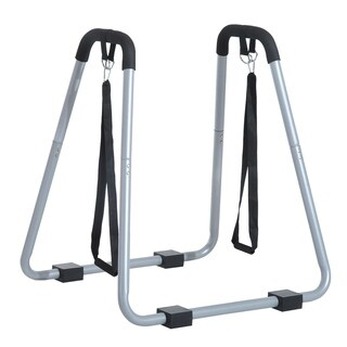 Soozier Portable Dip Station Bars with Push Up Straps- Grey