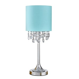 """FLORENCE 22""""H Crystal Pendants Table Lamp, Turquoise"""