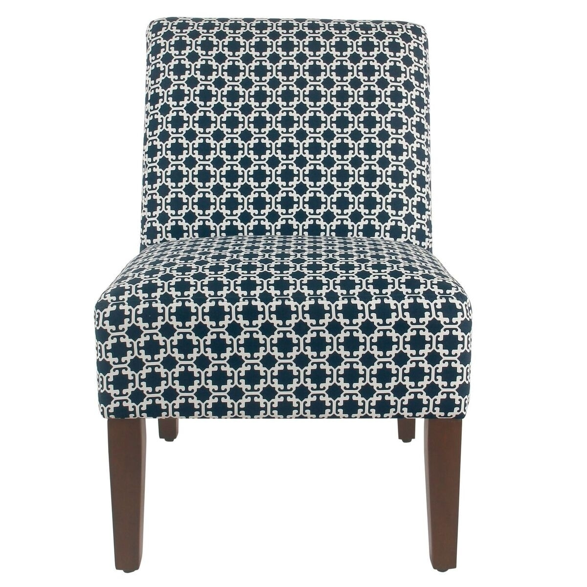 HomePop Armless Accent Chair - Indigo Lattice (Dark Blue)
