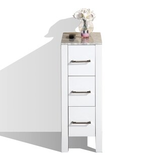 """Pacific Collection 12"""" W x 32.7"""" H Modern White Side Cabinet"""