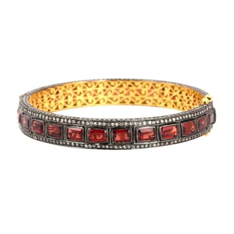 18Kt Gold 925 Silver Diamond Designer Garnet Bangle Gemstone Jewelry