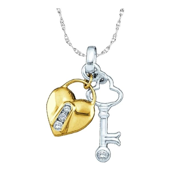 265bfea722b Shop 10kt Yellow Two-tone Gold Womens Round Diamond Heart Lock Key Pendant 1/20  Cttw - Free Shipping Today - Overstock - 22476482