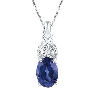 10kt White Gold Womens Oval Lab-Created Blue Sapphire Solitaire Diamond Pendant 7/8 Cttw