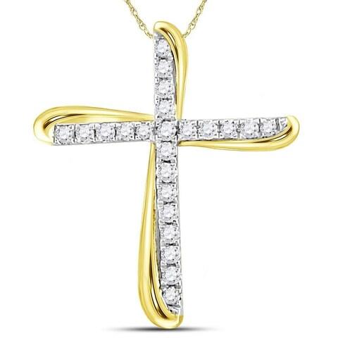 14kt Two-tone Gold Womens Round Diamond Cross Pendant 1/8 Cttw