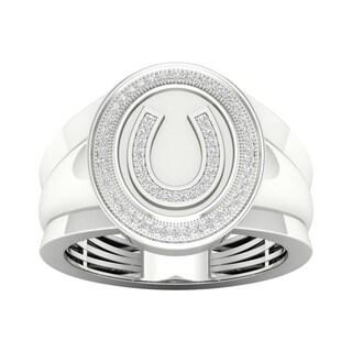 De Couer 10k Gold 1/5ct TDW Diamond Horseshoe Men's Ring (More options available)
