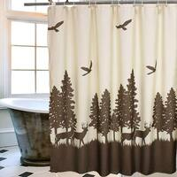 Natural Waterproof Deer in the Forest Bathroom Shower Curtain