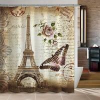 Paris Eiffel Tower Waterproof Kids Bathroom Shower Curtain