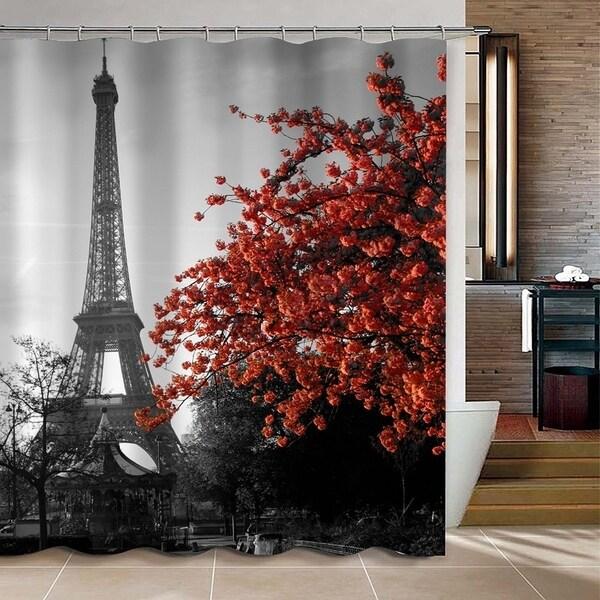 Grey Paris Eiffel Tower Custom Bathroom Shower Curtain