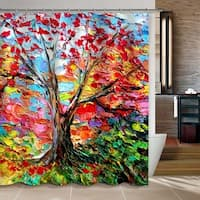 Forest Colorful Oil Painting Tree Curtain