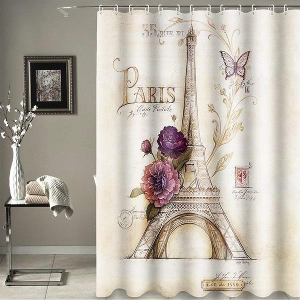 Eiffel Tower Bathroom Shower Curtain Purple