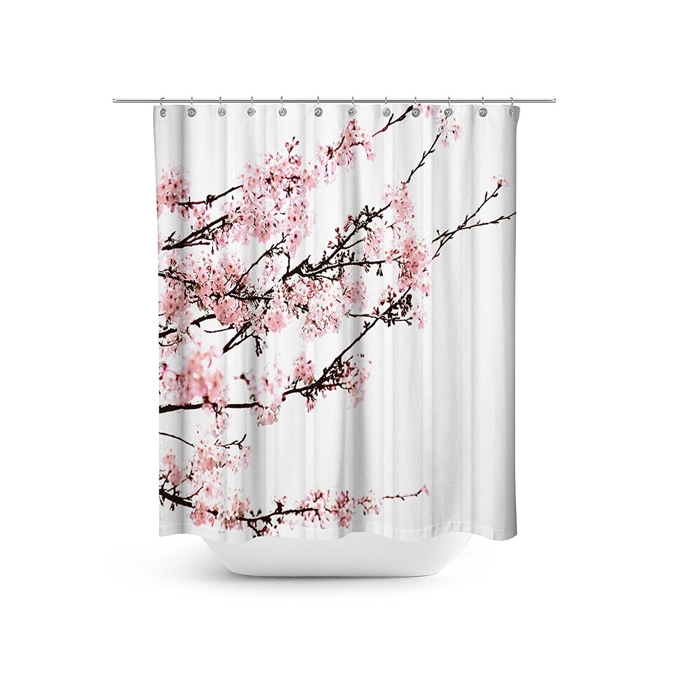 Cherry Blossom Floral Shower Curtain Set 72 X 72