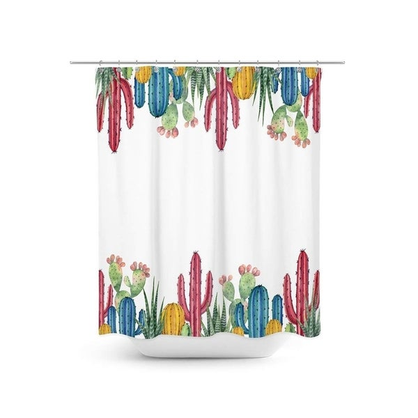 Livilan Colored Cactus Shower Curtain