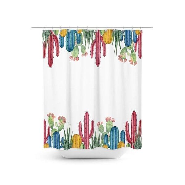 Shop Livilan Colored Cactus Shower Curtain