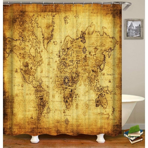 Old World Map Shower Curtain Set 72