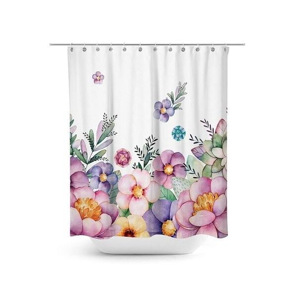 Shop Watercolor Floral Fabric Shower Curtain Set 708 X