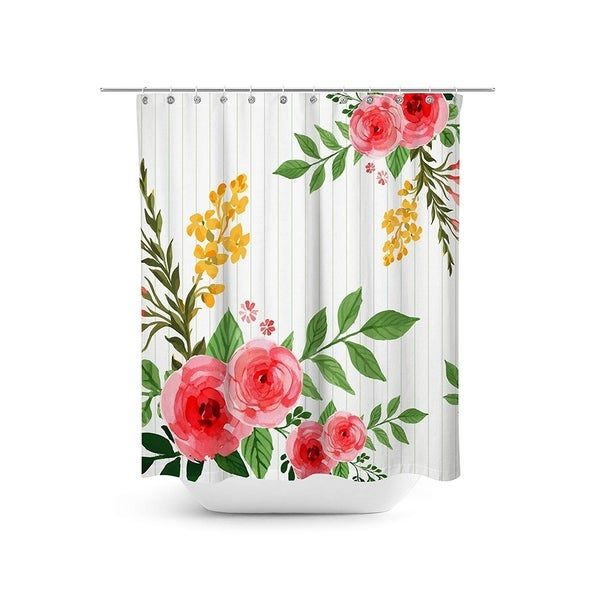 Watercolor Floral Fabric Shower Curtain Set 70.8\