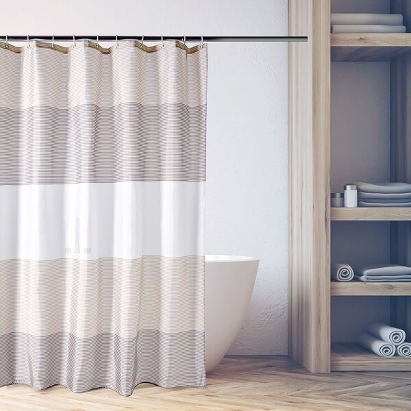 Shop Anti Bacterial Brown And Beige Strip Shower Curtain