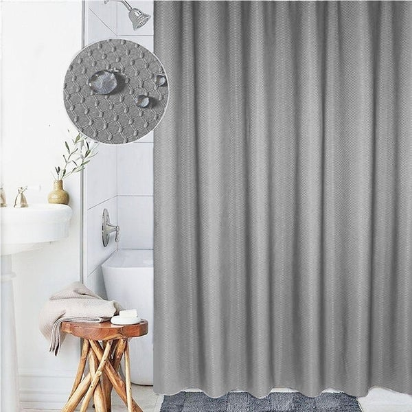 Grey Thick Polyester Mildew Resistant Shower Curtain