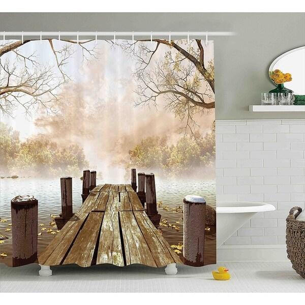 Shop Wooden Bridge Seasons Lake Shower Curtain