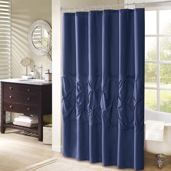 Shop Cavoy Shower Curtain Navy Tufted Pattern