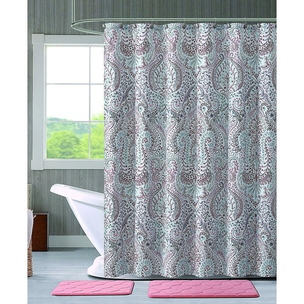 Turquoise Pink Grey Fabric Shower Curtain