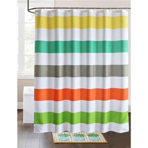 Shop Fabric Shower Curtain Colorful Rainbow Cross Stripe