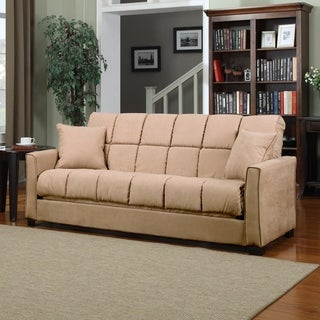 Handy Living Baja Convert-a-Couch Khaki Microfiber Futon Sofa Sleeper