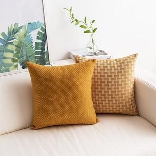 Yellow Throw Pillow Covers White/Mustard