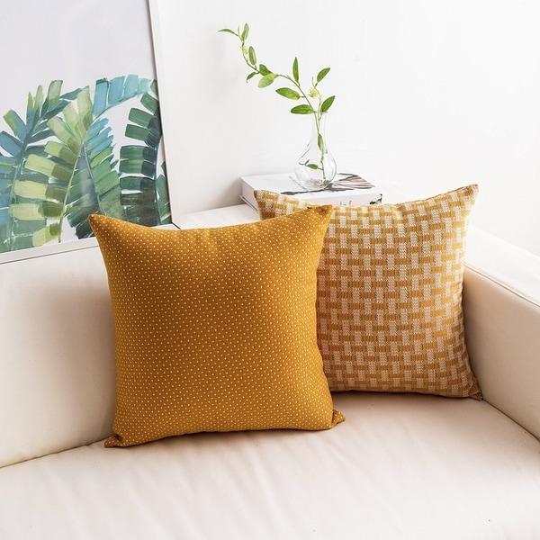 Yellow Throw Pillow Covers White Mustard