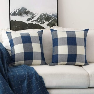 Retro Checkered Plaids Throw Pillow Covers