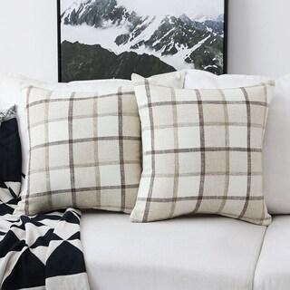 Plaid Cotton Linen Cushion Covers