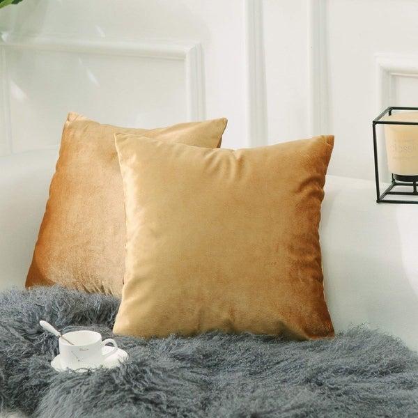 Solid Velvet Cushion Covers Gold