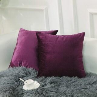 Velvet Throw Pillow Covers Eggplant