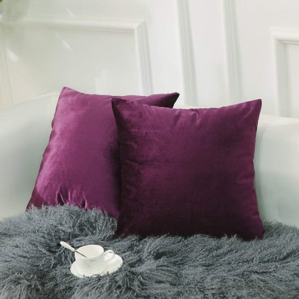 Velvet Throw Pillow Covers Eggplant