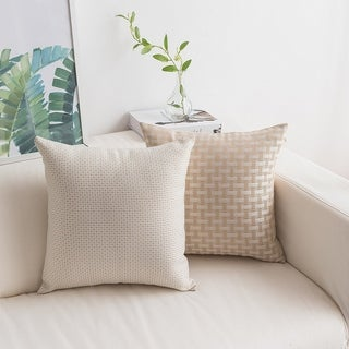 Gift Textured Square Accent Cushion Covers White Beige